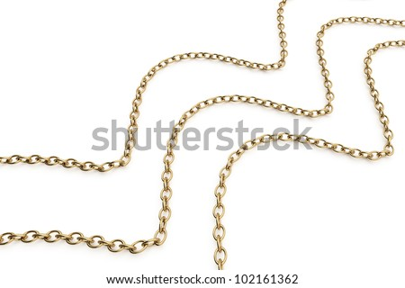 gold chains isolated on white background. 3d rendered image