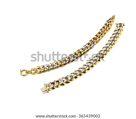 gold chains  white background clipping path - stock photo