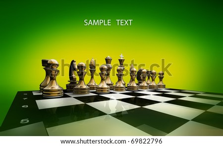 Gold chess on a green background 3d render - stock photo