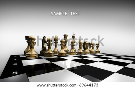 Gold chess on a white background 3d render - stock photo