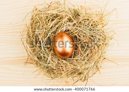 Gold chicken egg in the nest, wooden background - stock photo