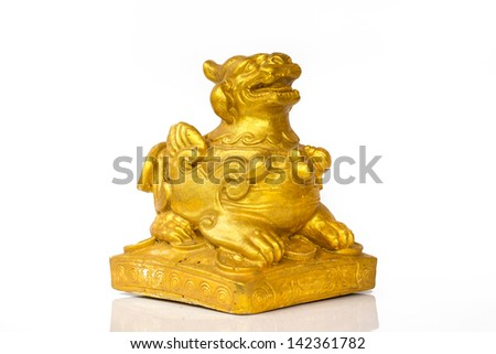 gold chinese lion isolated in white background - stock photo