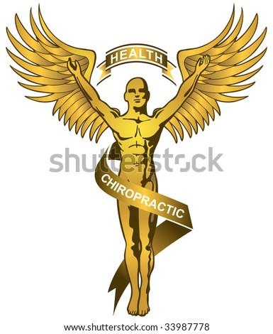 gold chiropractor symbol - stock photo