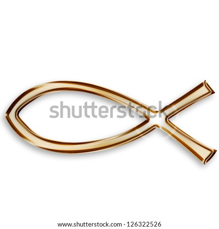 gold christian fish icon on white background - stock photo