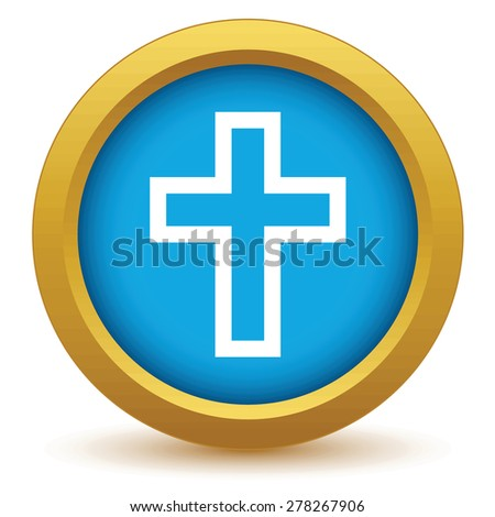 Gold Christianity icon on a white background - stock photo