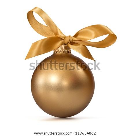 gold Christmas ball with ribbon - stock photo