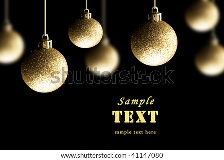 Gold Christmas balls on a black background - stock photo