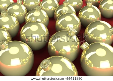 Gold Christmas balls sitting on a red surface