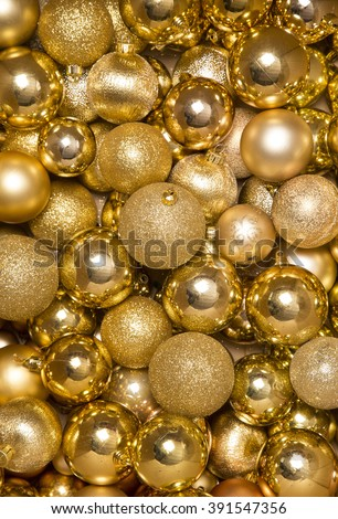 gold christmas baubles abstract background - stock photo