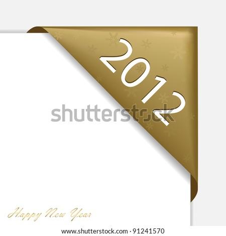Gold Christmas corner ribbon - New Year 2012. - stock photo