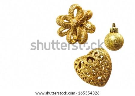 Gold Christmas decoration isolated on white background - stock photo