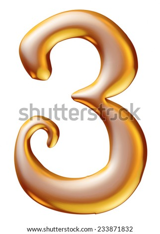 Gold Christmas Digit number 3 - stock photo