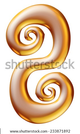 Gold Christmas Digit number 8 - stock photo