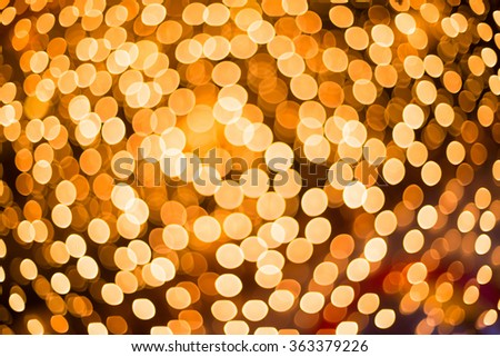 Gold christmas lights background, abstract bokeh lights.