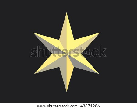 Gold Christmas star isolated over a black background