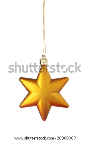 Gold Christmas star isolated over a white background - stock photo