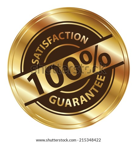 Gold Circle Metallic Style 100 Percent Satisfaction Guarantee Icon, Label or Sticker Isolated on White Background  - stock photo