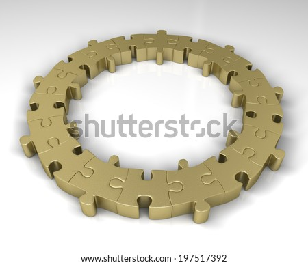 Gold circle of jigsaw puzzle - stock photo
