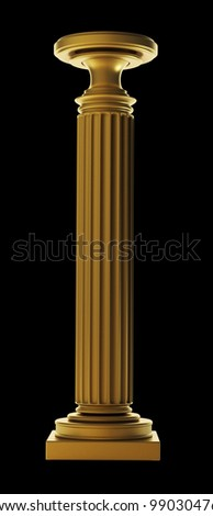 Gold Classic Column isolated on black background High resolution 3D