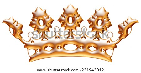 Gold classic royal Crown. Isolated On White Background. - stock photo