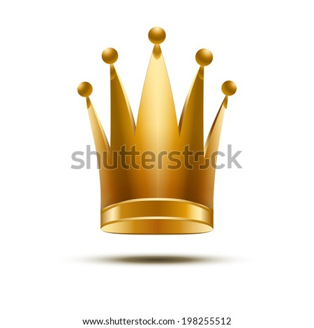 Gold classic royal Crown of Queen or Princess. Isolated On White Background, Bitmap copy. - stock photo