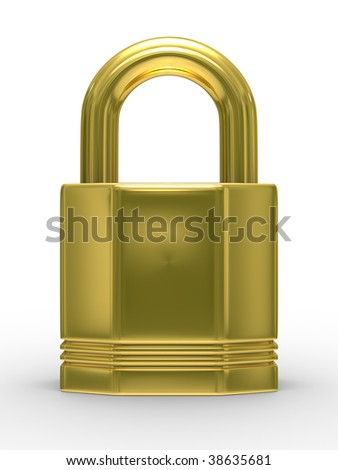 Gold closed lock on white background. Isolated 3D image