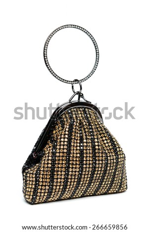 Gold clutch with diamonds on a white background - stock photo