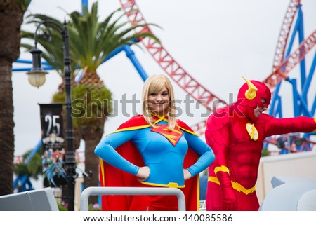 GOLD COAST, AUS - June 05 2016:Animated cartoon characters in Movie World Gold Coast Queensland Australia.The park opened in 1991 and contains various movie-themed rides and attractions - stock photo