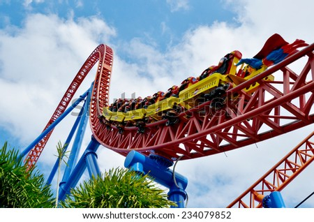 GOLD COAST, AUS -  NOV 20 2014:Visitors ride on Superman Escape in Movie World Gold Coast Queensland Australia.It's an Accelerator Coaster that accelerates from 0 to 100 Km per hour (62 mph) in 2 sec. - stock photo