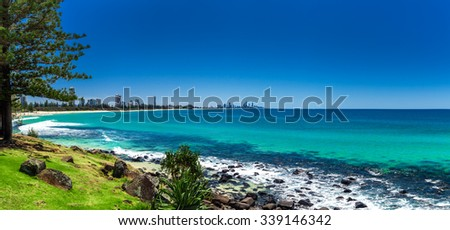 GOLD COAST, AUS - OCT 4 2015: Gold Coast skyline and surfing beach visible from Burleigh Heads, Queensland - stock photo