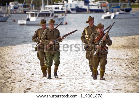GOLD COAST, AUSTRALIA - APRIL 25 :Memorial service with  War Veterans Remembers  Anzac Day on March April 25, 2011 in Gold Cost , Australia. - stock photo