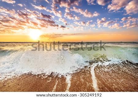 Gold Coast Australia beach sunrise over ocean - stock photo