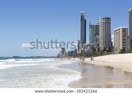 GOLD COAST, AUSTRALIA - DECEMBER 7 2013: Surfers Paradise Soul building and famous beachscape