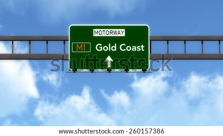 Gold Coast Australia Highway Road Sign - stock photo