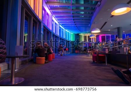 Interior Strip Club Sofas Tables Poles Stock Photo