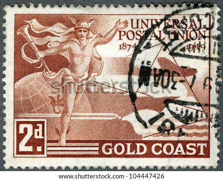 GOLD COAST - CIRCA 1949: A stamp printed in Gold Coast, devoted Universal Postal Union (1874-1949), circa 1949 - stock photo