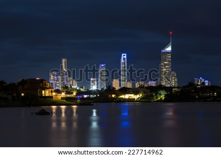 Gold Coast lights at night - stock photo