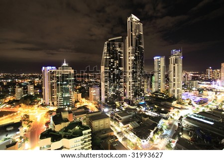 Gold Coast night cityscape, Australia