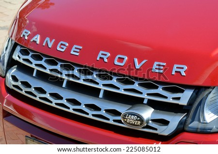GOLD COAST - OCT 19 2014:Range Rover Sport front view.The Range Rover Sport is a Land Rover mid-size luxury sport utility vehicle (SUV) produced in the United Kingdom by Jaguar Land Rover. - stock photo