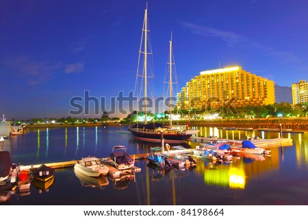 Gold Coast yacht pier at sunset time - stock photo