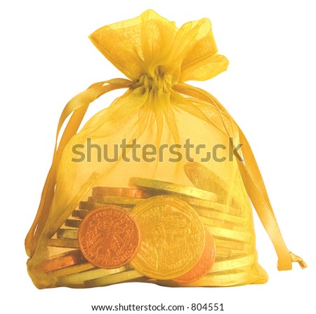 Gold Coin Bag with Silver, Gold & Copper Chocolate Coins ~ Isolated Object - stock photo