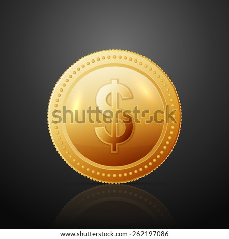 Gold coin with dollar sign.  - stock photo