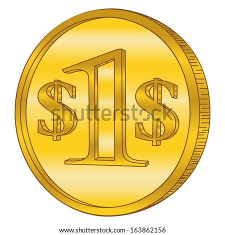Gold coin with dollar sign. Raster illustration isolated on white background