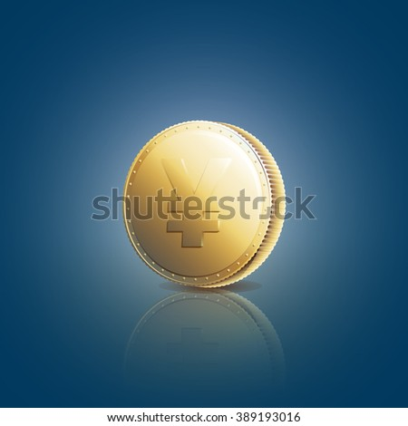 Gold coin with yen sign on blue background  - raster image - stock photo