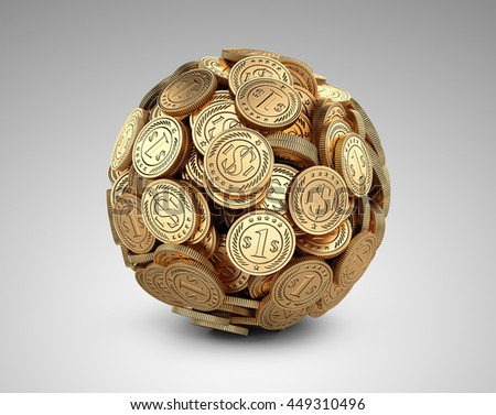 Gold coins assembled in a form sphere on a grey background. Business success concep. - stock photo