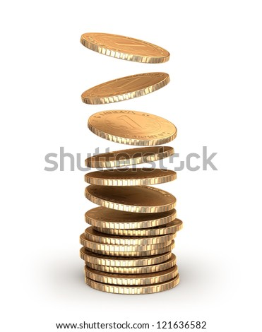 Gold coins falling in pile. Isolated on white - stock photo