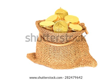 Gold coins in a canvas bag on white background - stock photo