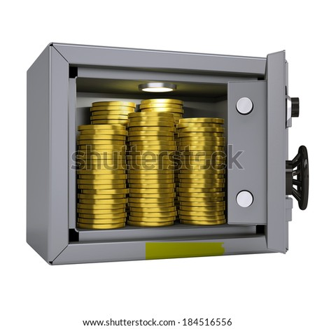 Gold coins in a safe. Isolated render on a white background - stock photo
