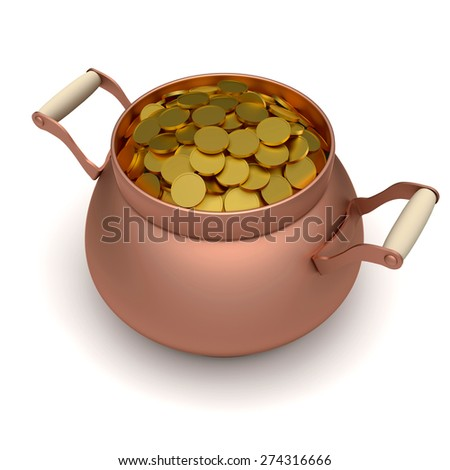 Gold coins in pot on the white background - stock photo