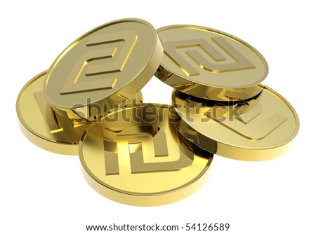 Gold coins isolated on a white background. Computer generated 3D photo rendering.